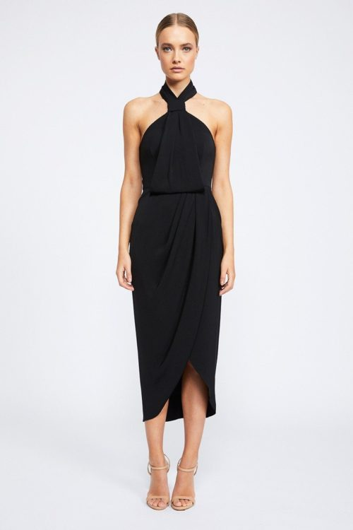 Amanda Core Knot Draped Dress by Shona Joy - Black