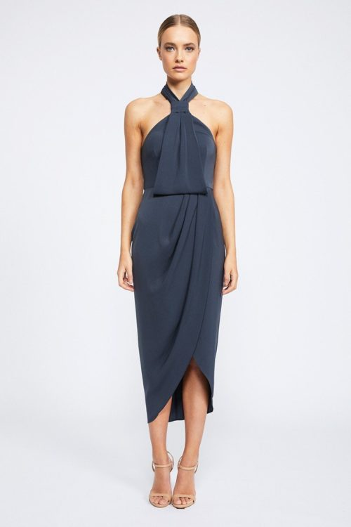 Amanda Core Knot Draped Dress by Shona Joy - Charcoal