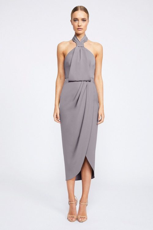 Amanda Core Knot Draped Dress by Shona Joy - Grey