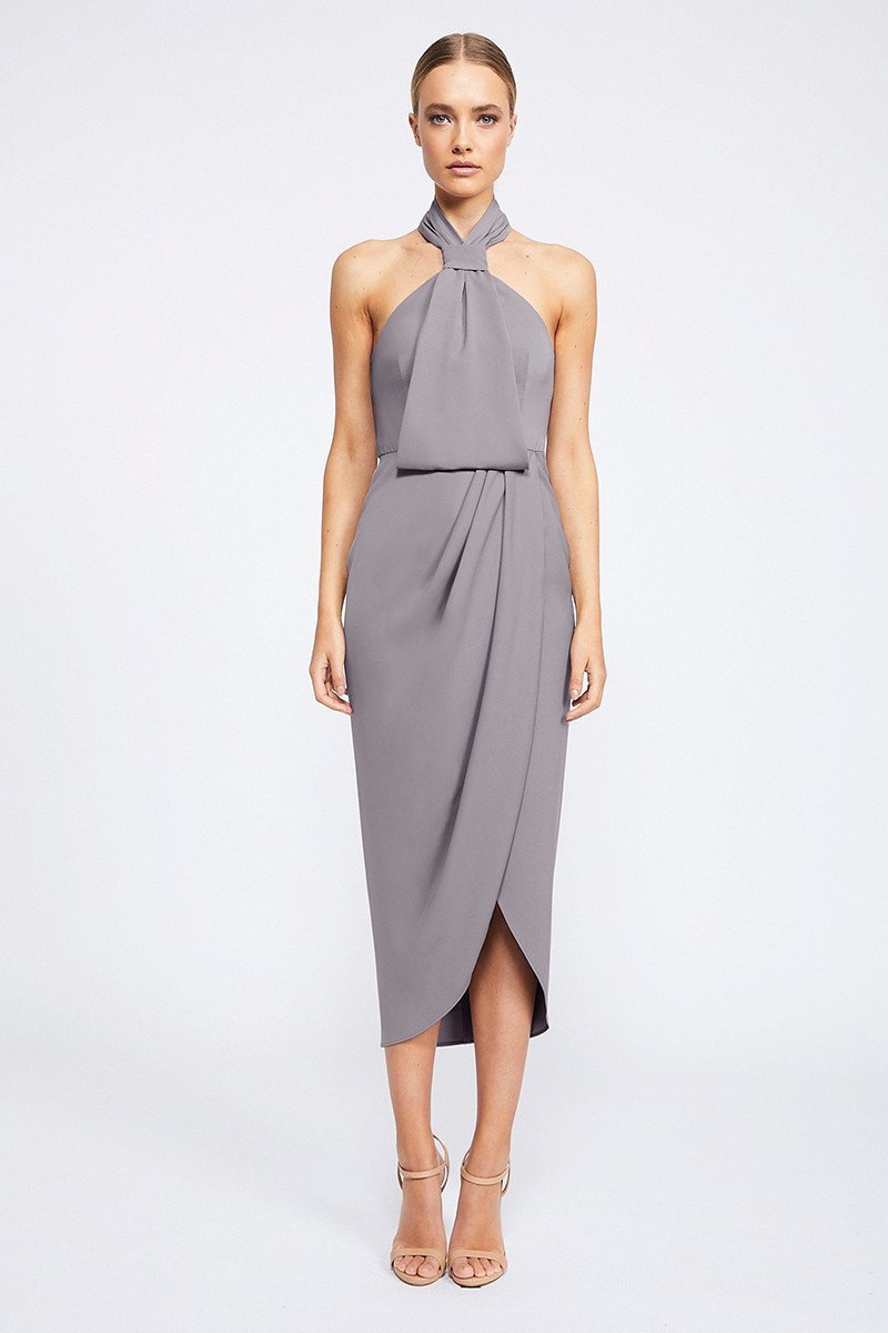 Amanda Core Knot Draped Dress by Shona Joy - Grey