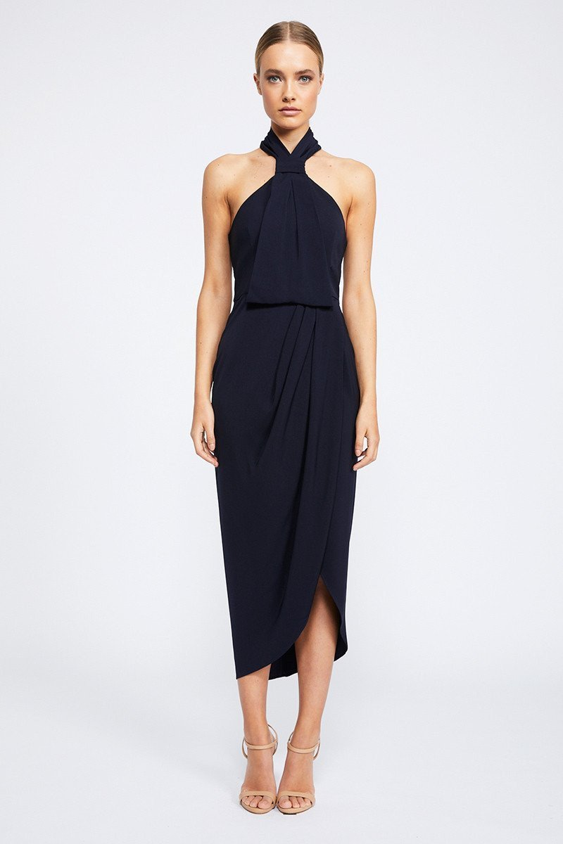 Amanda Core Knot Draped Dress by Shona Joy - Navy