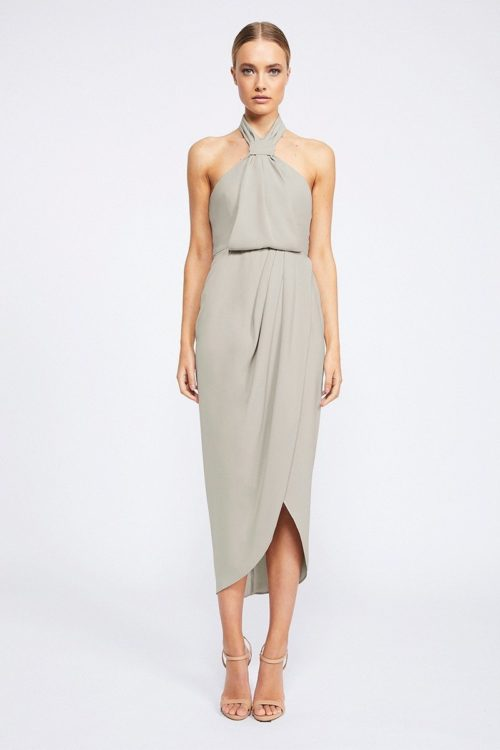 Amanda Core Knot Draped Dress by Shona Joy - Oyster