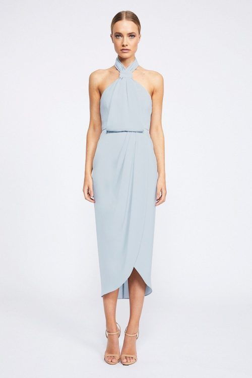 Amanda Core Knot Draped Dress by Shona Joy - Powder Blue