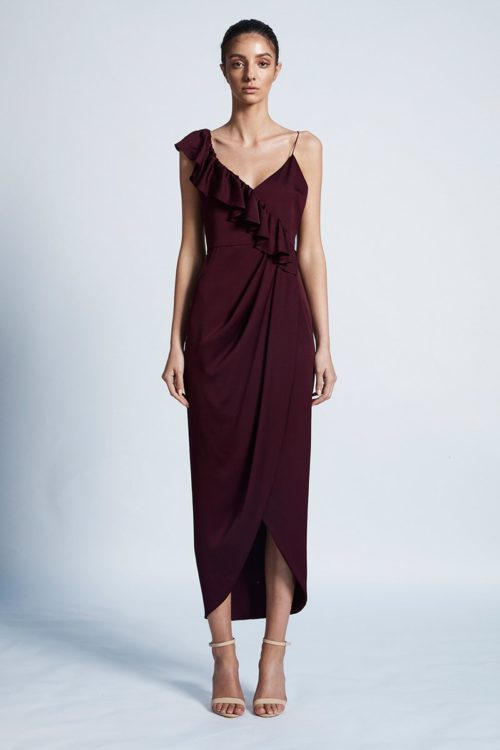 Amy Luxe Asymmetrical Frill Dress by Shona Joy - Garnet