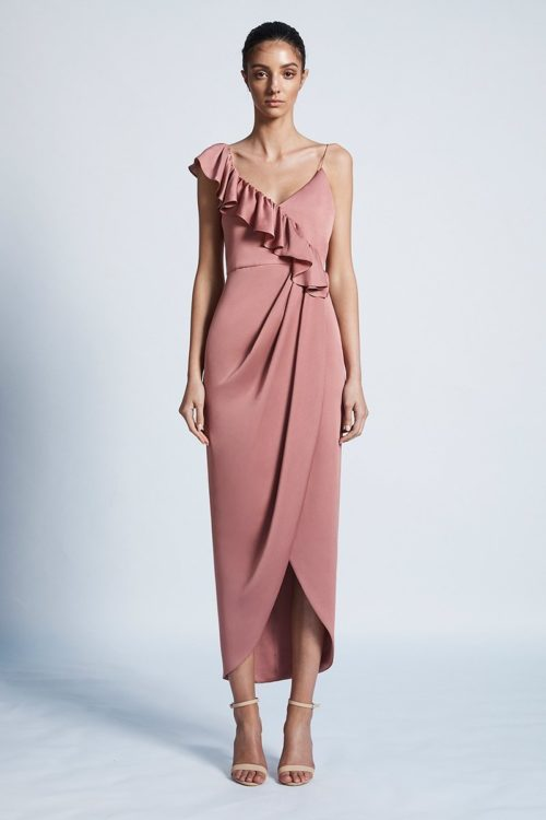 Amy Luxe Asymmetrical Frill Dress by Shona Joy - Rose