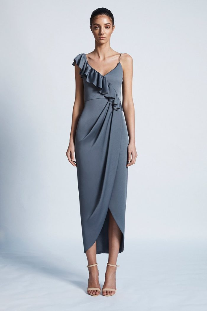Amy Luxe Asymmetrical Frill Dress by Shona Joy - Pewter