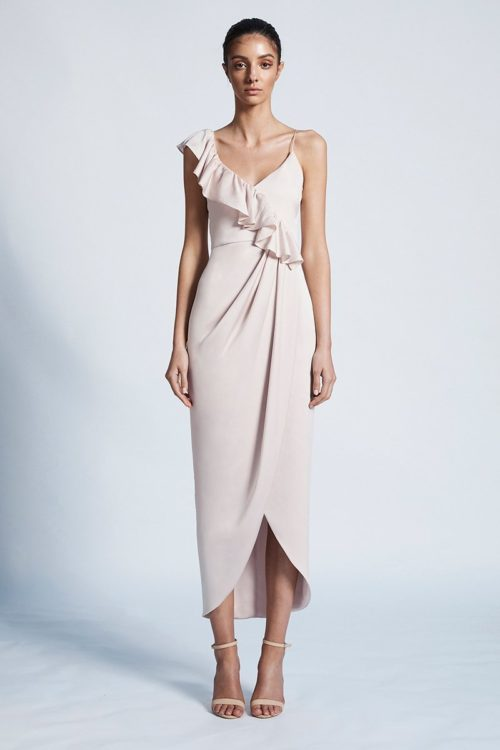 Amy Luxe Asymmetrical Frill Dress by Shona Joy - Porcelain