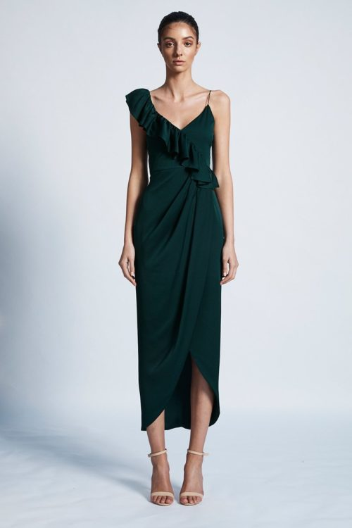 Amy Luxe Asymmetrical Frill Dress by Shona Joy - Emerald