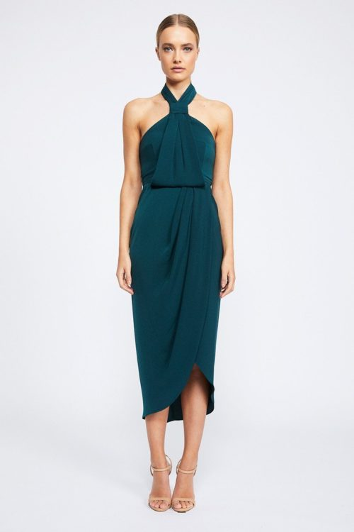 Amanda Core Knot Draped Dress by Shona Joy - Seaweed