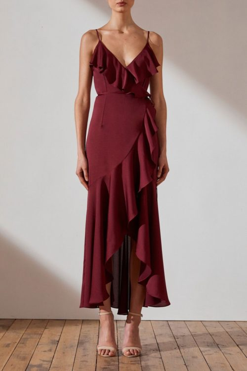 Evie Luxe Bias Frill Wrap Dress by Shona Joy - Garnet
