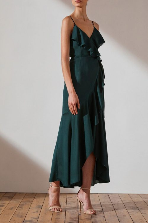 Evie Luxe Bias Frill Wrap Dress by Shona Joy - Emerald
