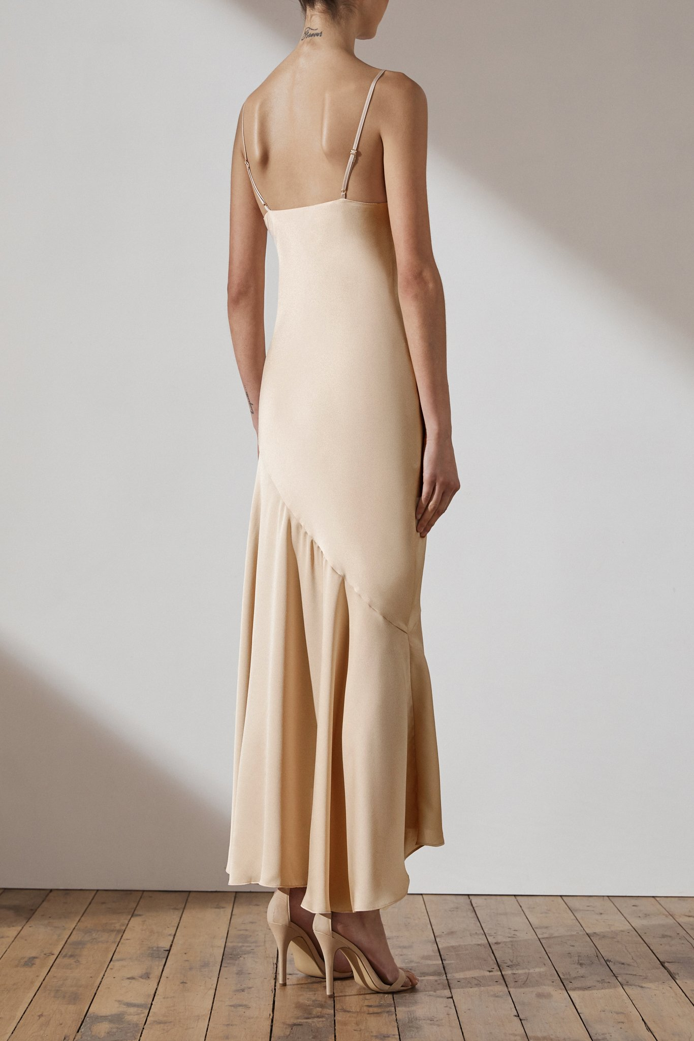 Jamie Luxe Bias Asymmetrical Slip Dress By Shona Joy - Champagne