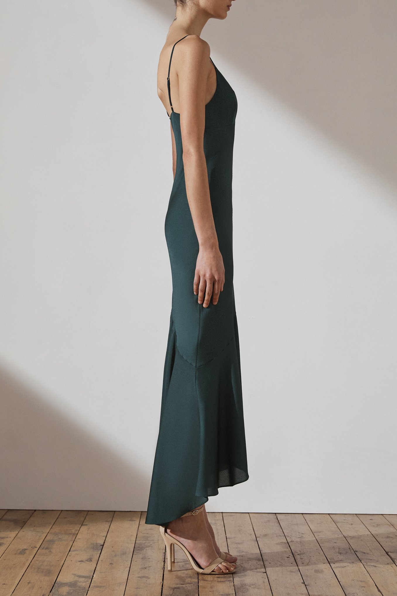 Jamie Luxe Bias Asymmetrical Slip Dress By Shona Joy - Emerald