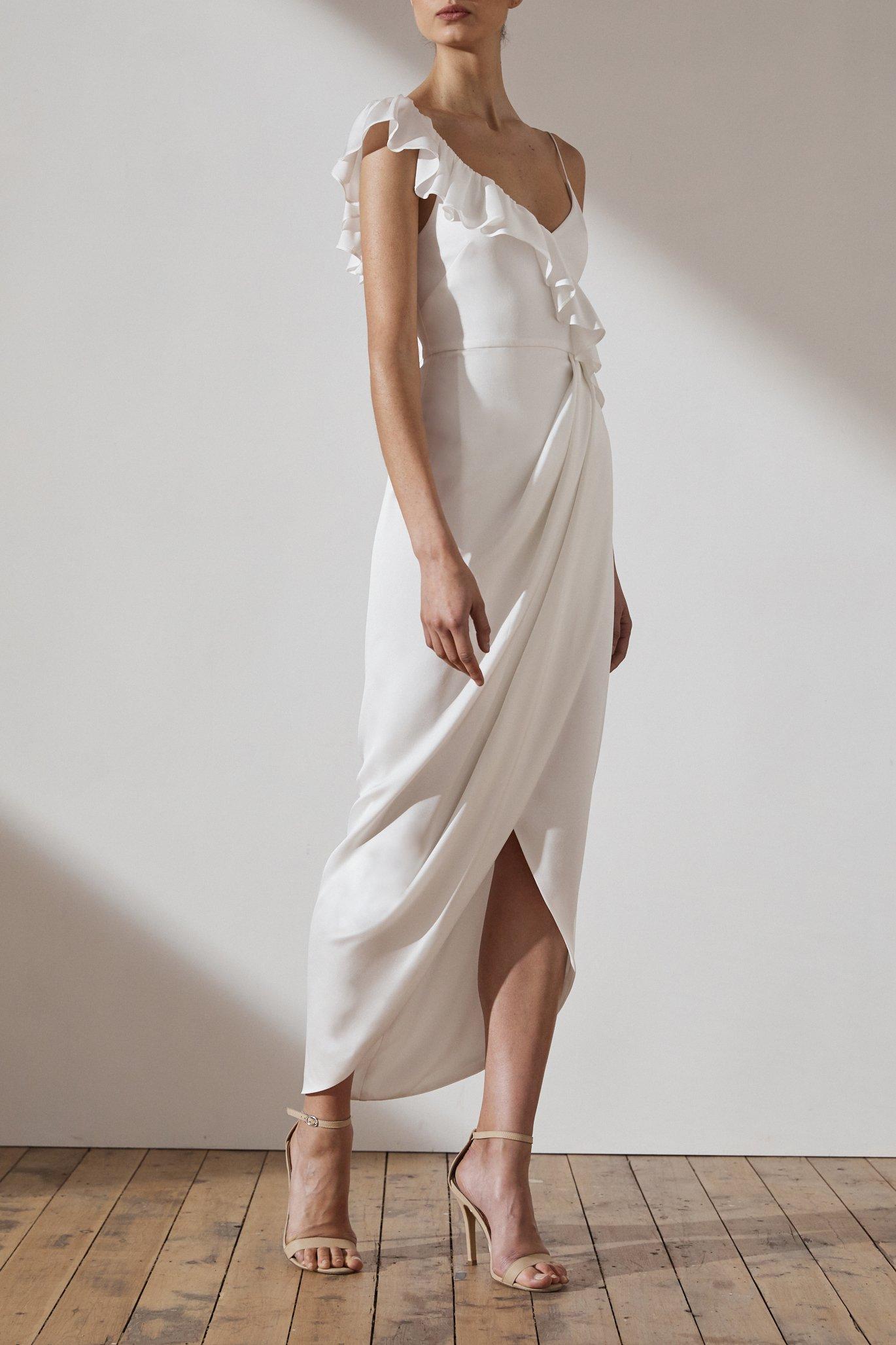 Amy Luxe Asymmetrical Frill Dress by Shona Joy - Ivory