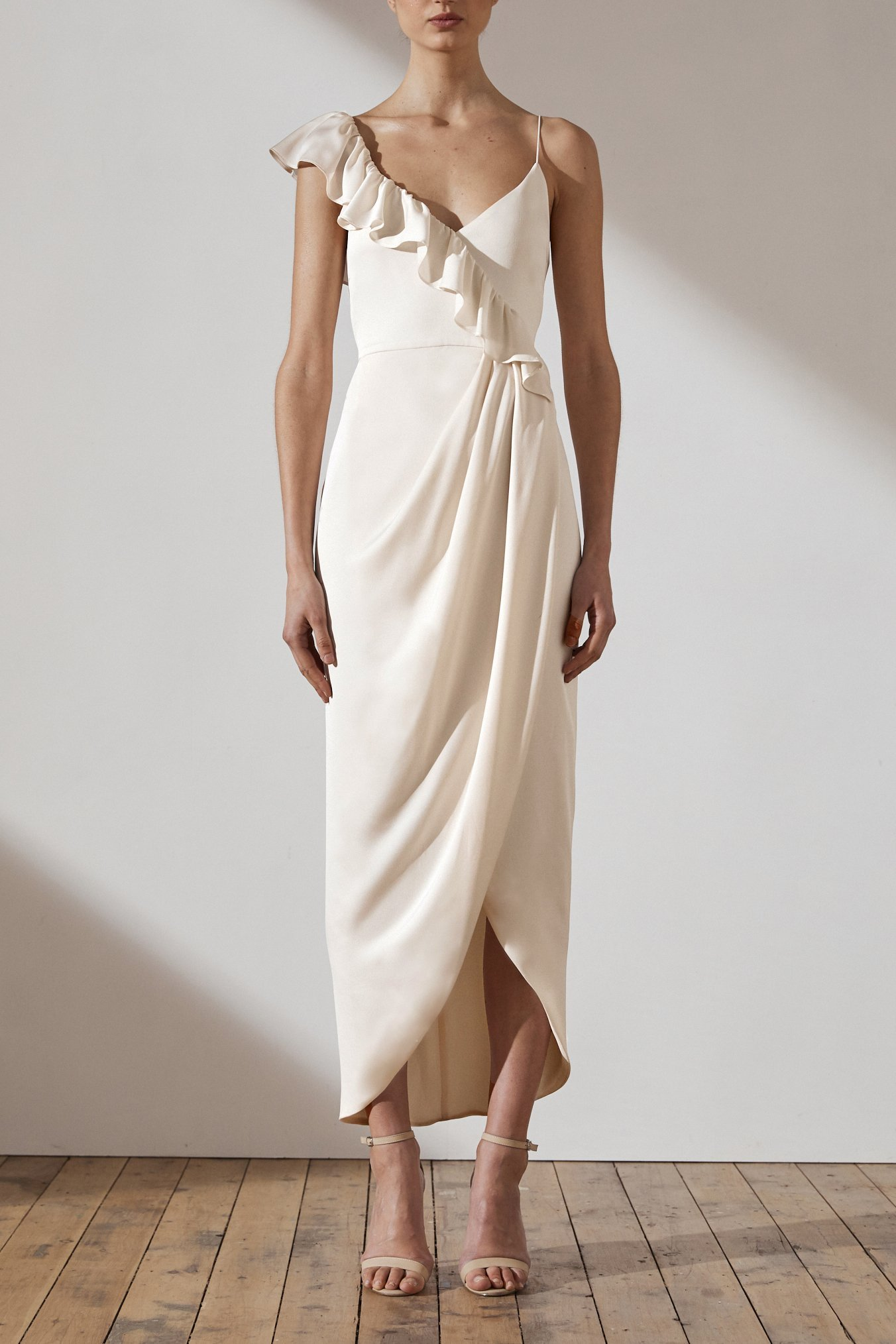 Amy Luxe Asymmetrical Frill Dress by Shona Joy - Creme