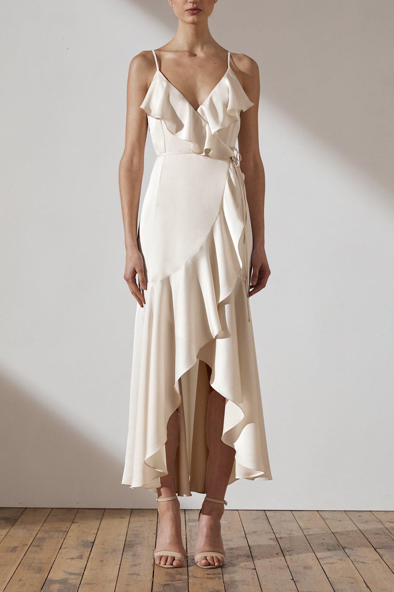 Evie Luxe Bias Frill Wrap Dress by Shona Joy - Creme
