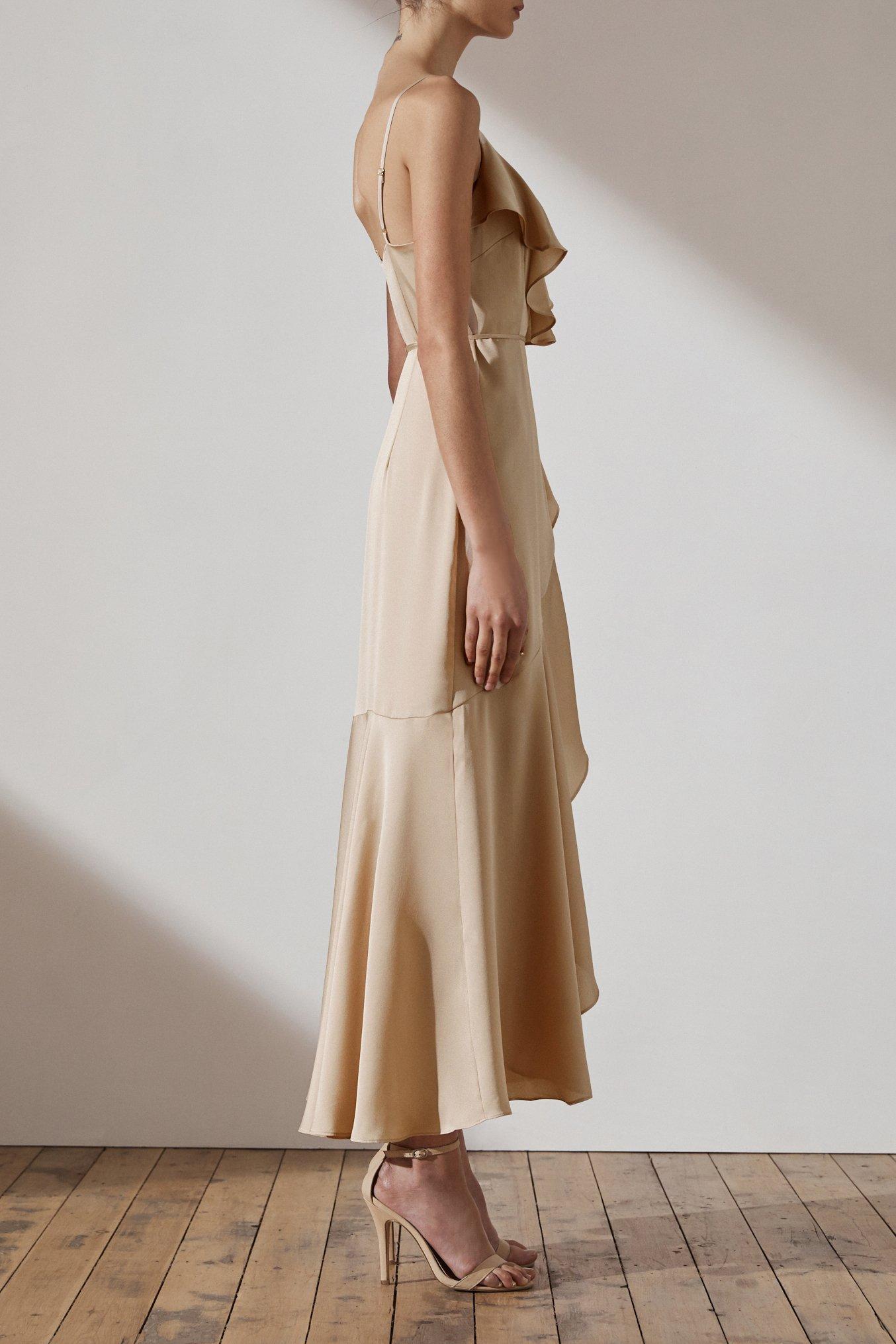 Evie Luxe Bias Frill Wrap Dress by Shona Joy - Champagne