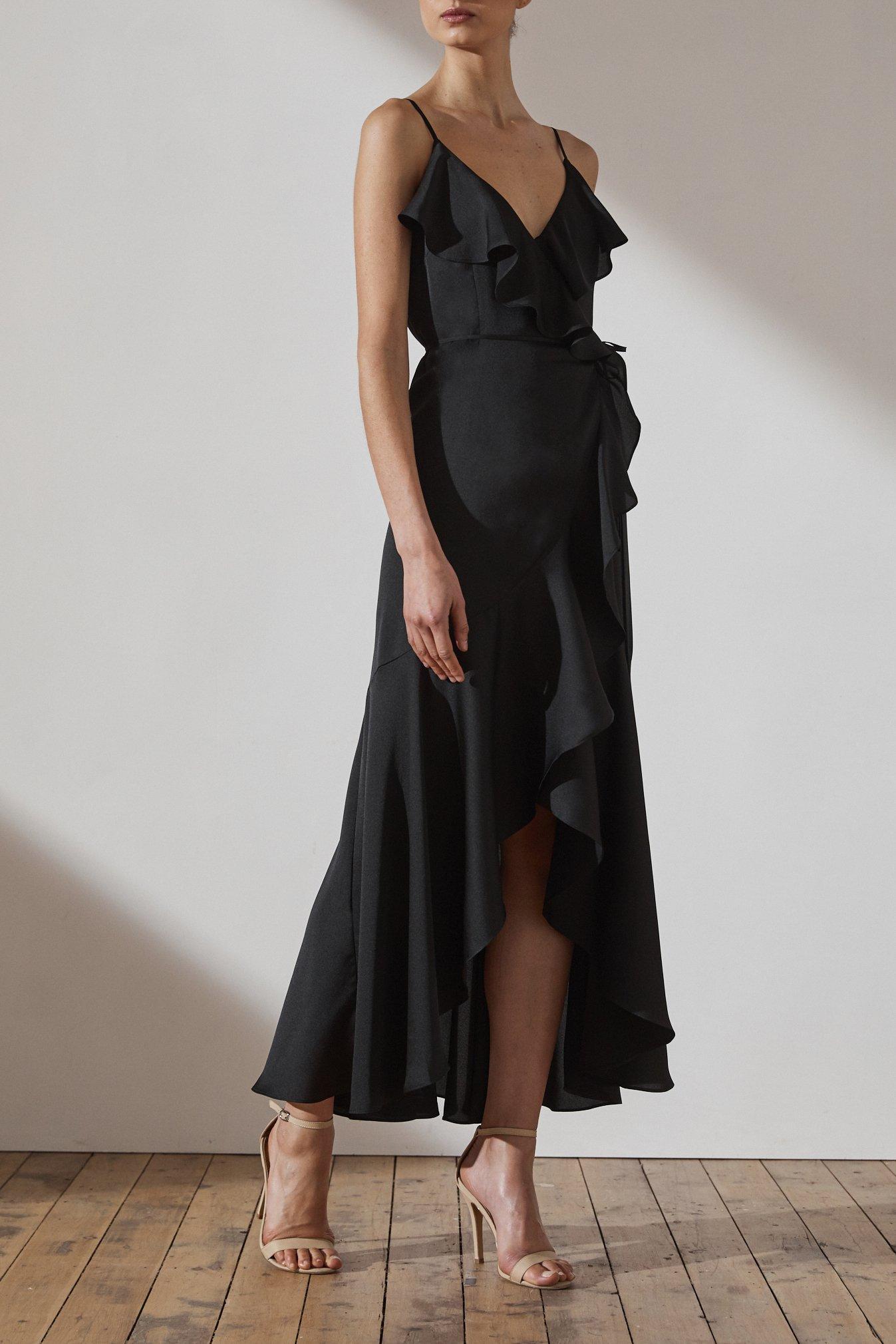 Evie Luxe Bias Frill Wrap Dress by Shona Joy - Onyx