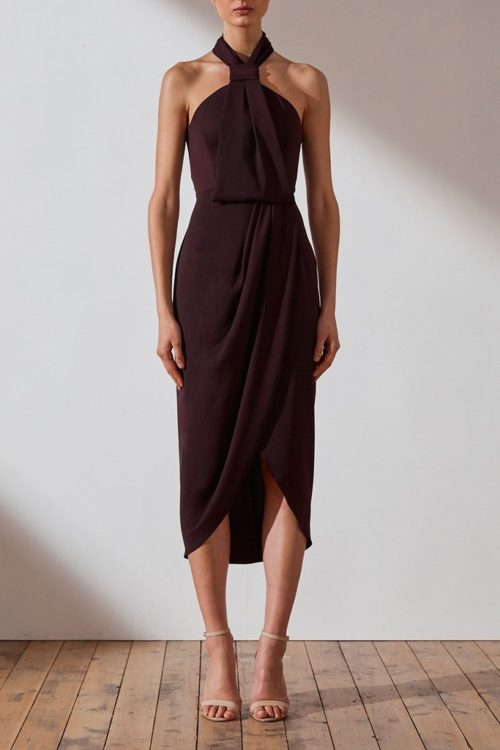 Core Knot Draped Dress by Shona Joy - Aubergine