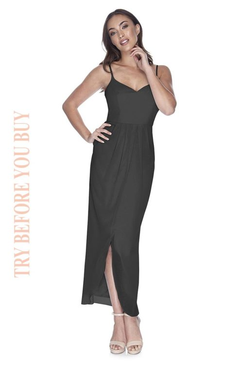 Try Before You Buy Bridesmaids Dress Chloe in Slate Grey