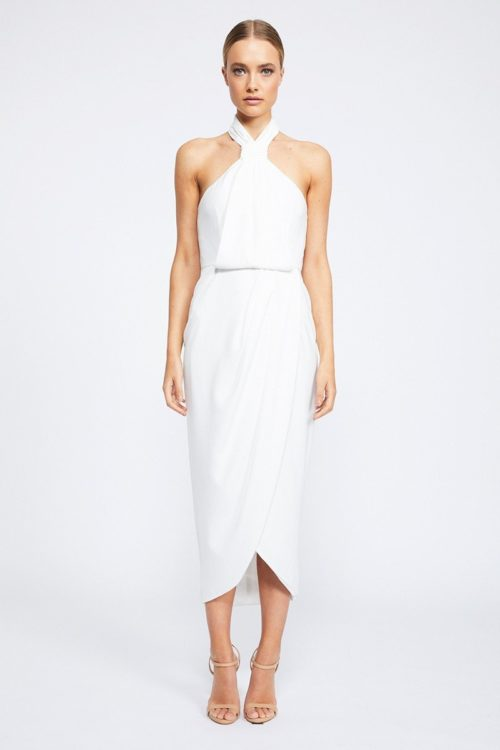 Core Knot Draped Dress by Shona Joy - Ivory