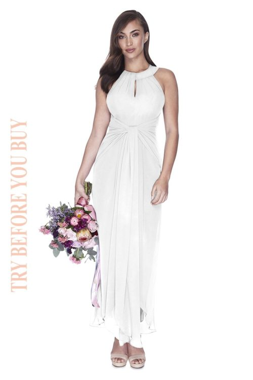 Try Before You Buy Bridesmaids Dress Mila in White Pearl