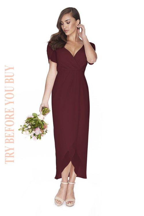 Try Before You Buy Bridesmaids Dress Zara in Merlot