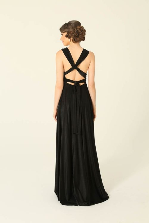Infinity Wrap Black Bridesmaids Dress