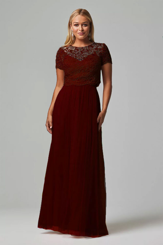 Lace Burgundy Bridesmaids Dress Tania Olsen