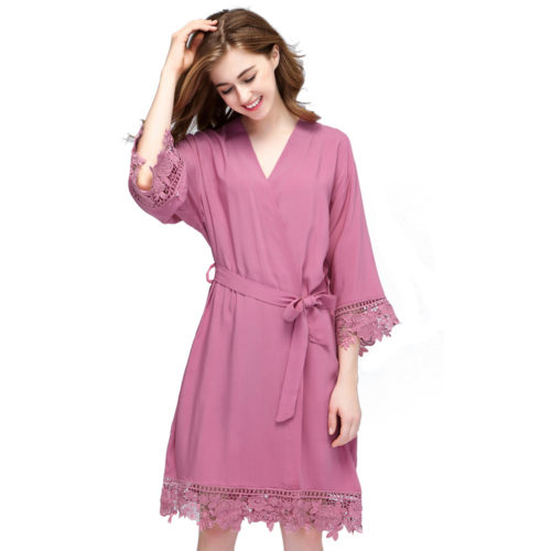 Dusky Pink Rosa Lace Cotton Bridesmaids Robe