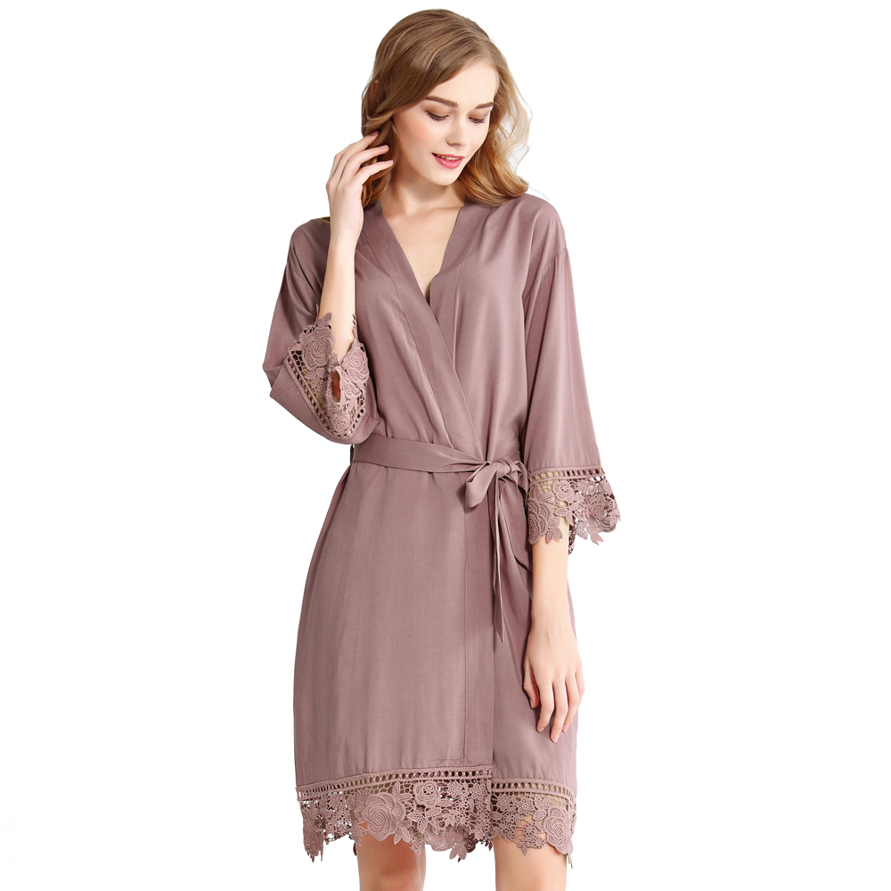 Mauve Rosa Lace Cotton Bridesmaids Robe