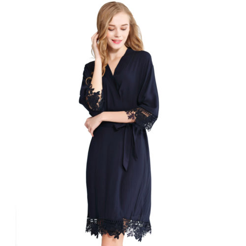 Navy Rosa Lace Cotton Bridesmaids Robe