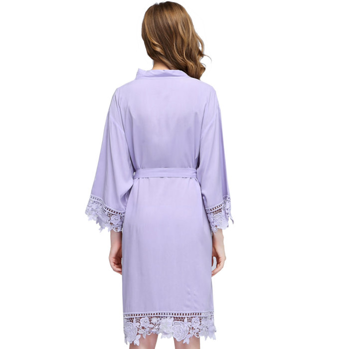 Violet Rosa Lace Cotton Bridesmaids Robe