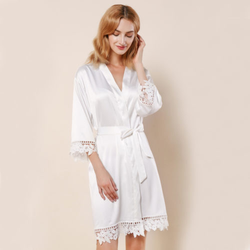 White Ella Lace Satin Bridesmaids Robe