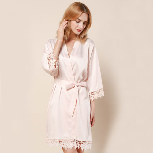 Blush Ella Lace Satin Bridesmaids Robe