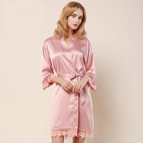 Dusky Rose Ella Lace Satin Bridesmaids Robe