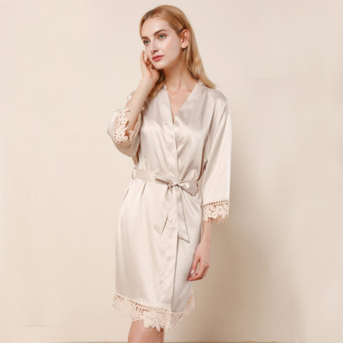 Champagne Ella Lace Satin Bridesmaids Robe