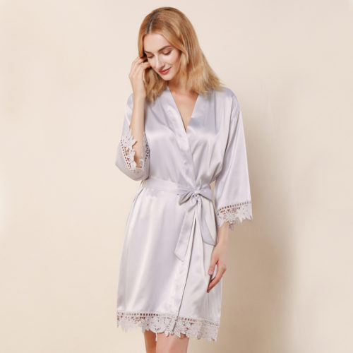 Light Grey Ella Lace Satin Bridesmaids Robe