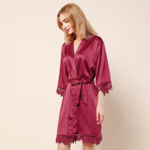 Burgundy Ella Lace Satin Bridesmaids Robe