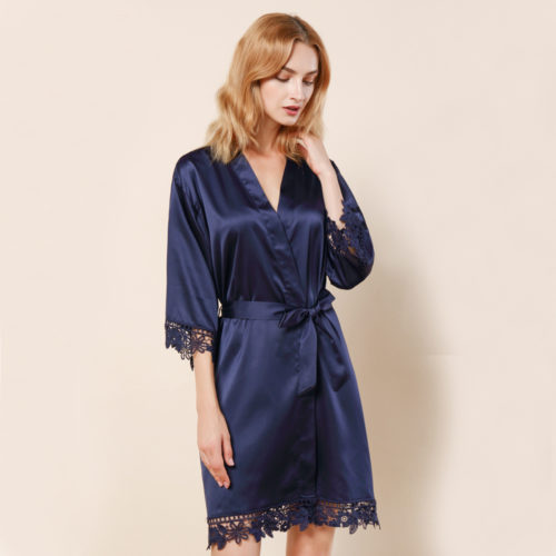 Navy Ella Lace Satin Bridesmaids Robe
