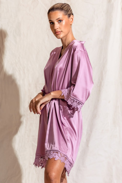 Satin lace bridesmaid robe mauve purple