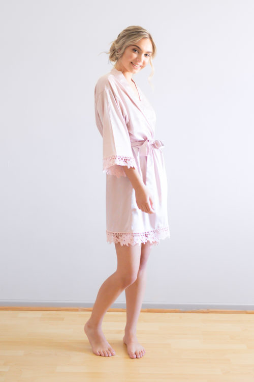 Ella Nude Pink Lace Satin Bridesmaid Robes