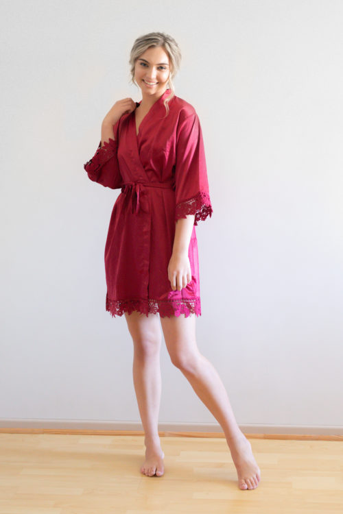 Ella Burgundy Lace Satin Bridesmaid Robes