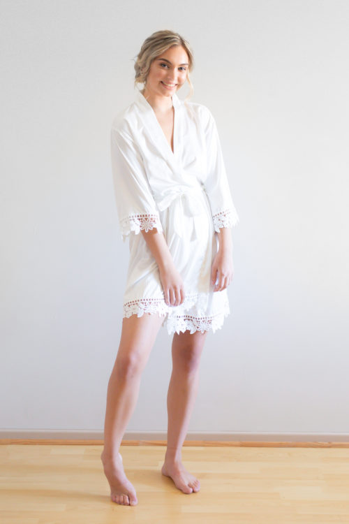 Ella White Lace Satin Bridesmaid Robes