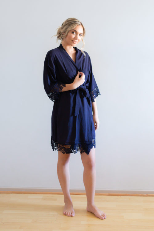 Rosa Navy Lace Cotton Bridesmaid Robes