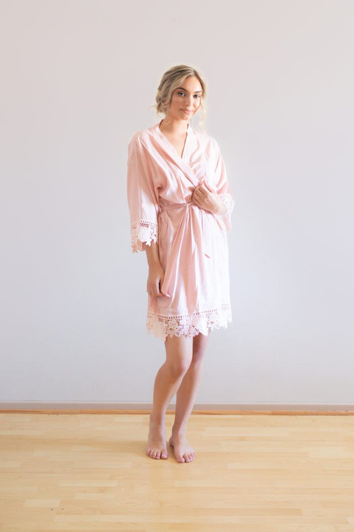 Blush Pink Lace Cotton Bridesmaid Robes