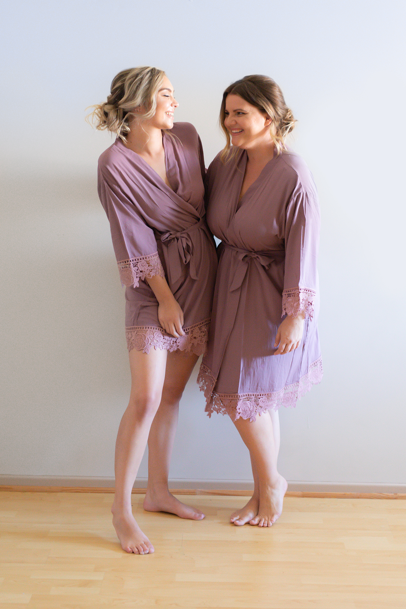 Rosa Purple Lace Cotton Bridesmaid Robes