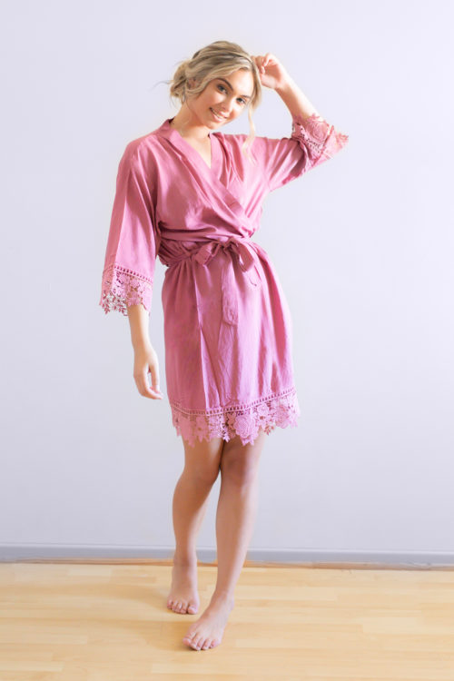 Rosa Dusky Pink Lace Cotton Bridesmaid Robes