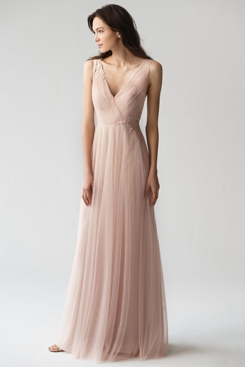 Emelie Appliqué Bridesmaids Dress by Jenny Yoo - Cameo Pink