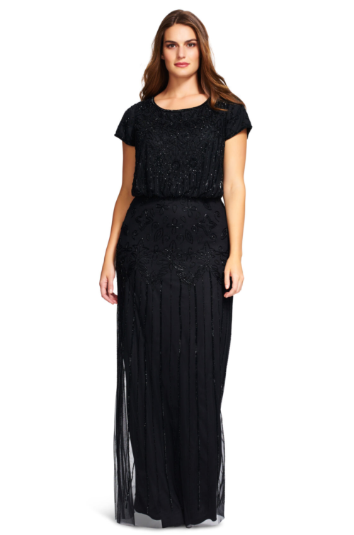 Nina Short Sleeve Blouson Beaded Gown By Adrianna Papell - Black